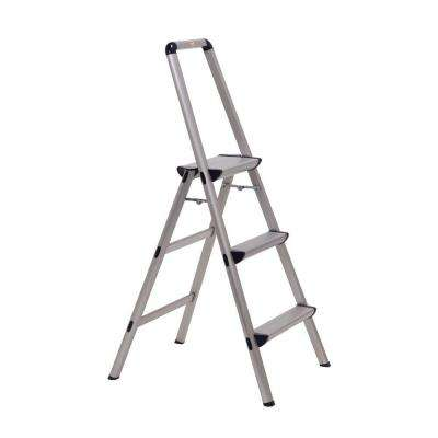 Ultra 3-Step Light Weight Aluminum Stool Folding Step Stool with Handle Type II 225 lb. Duty Rating