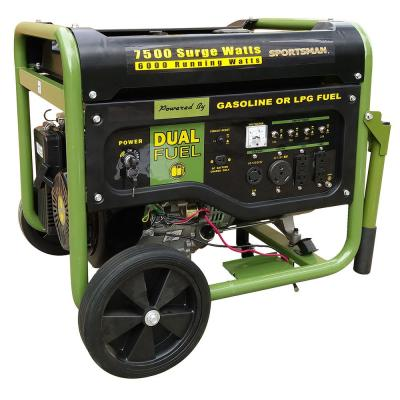 7,500-Watt/6000-Watt CARB Approved Electric Start Dual Fuel LPG/Gasoline Powered Portable Generator