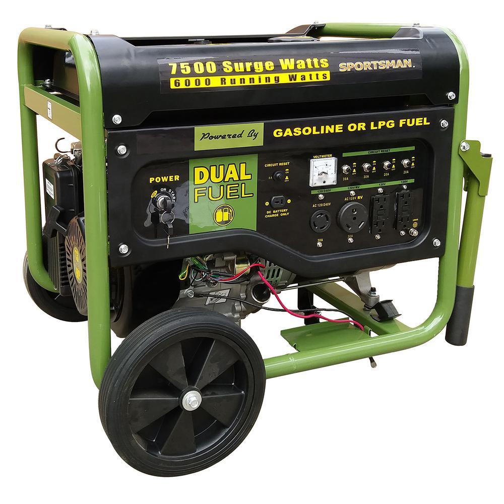7,500-Watt/6000-Watt CARB Approved Electric Start Dual Fuel LPG/Gasoline Powered Portable Generator