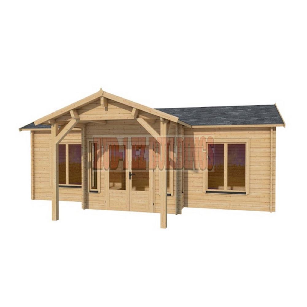 Hud-1 EZ Buildings Cottage 26 ft. x 14 ft. Log Cabin Pool Garden ...