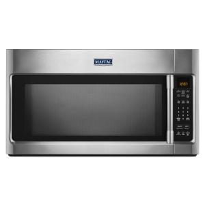 Maytag 2 0 Cu Ft Over The Range Microwave In Fingerprint Resistant Stainless Steel With Sensor Cooking Mmv4205fz Home Depot