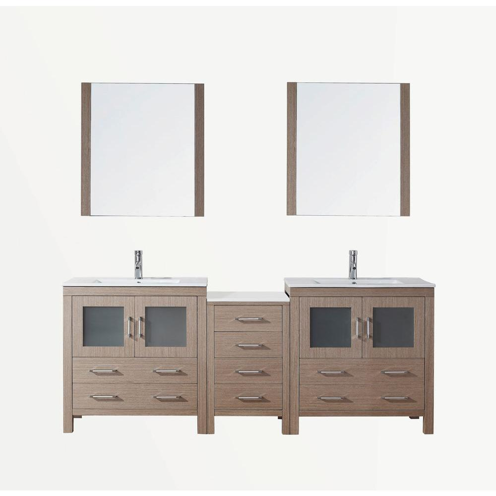 Virtu USA Dior 82 in. W x 18.3 in. D x 33.48 in. H Dark Oak Vanity with Ceramic Vanity Top with White Square Basin and Mirror