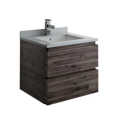 Formosa 24 in. Modern Wall Hung Vanity in Warm Gray with Quartz Stone Vanity Top in White with White Basin