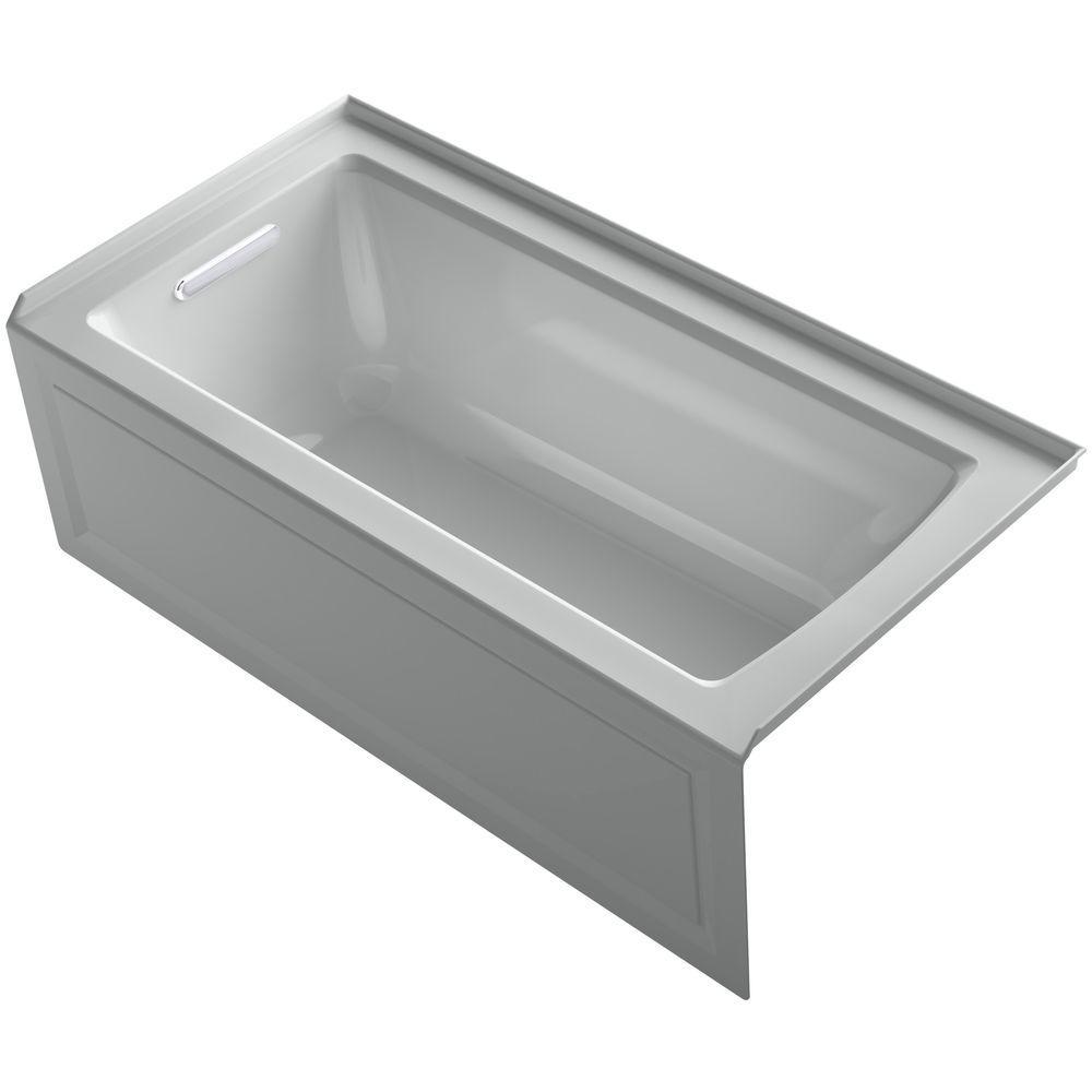 Archer 5 ft. Left Drain Bathtub in Ice Grey