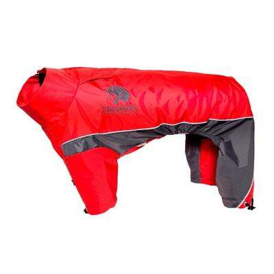 Small Red and Charcoal Grey Quantum-Ice Full-Bodied Adjustable and 3M Reflective Dog Jacket with Blackshark Technology