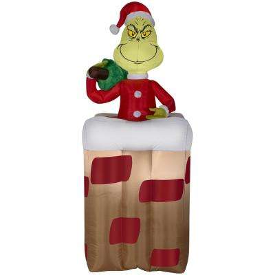 pre lit inflatable animated grinch popping out of chimney airblown - Home Depot Inflatable Christmas Decorations