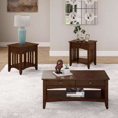 Crestway 3-Piece Cappuccino Coffee Table and End Tables Set with Drawers