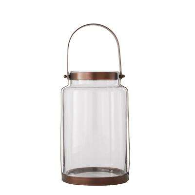 10.94 in. Metal and Glass Lantern in Copper