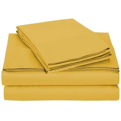 4-Piece Honey Mustard Microfiber Twin XL Sheet Set