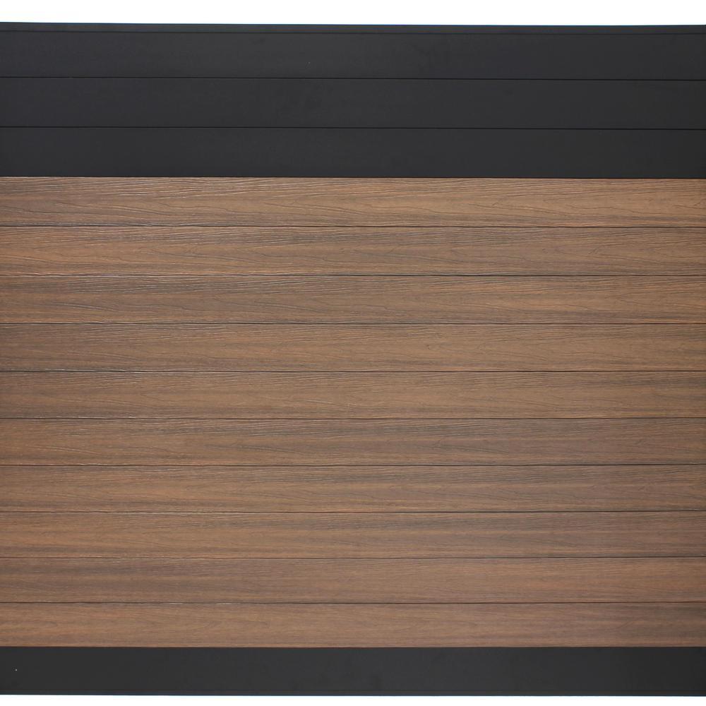 Euro Style 6 ft. H x 6 ft. W Black Top King Cedar Aluminum/Composite Horizontal Fence Section