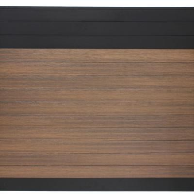 Euro Style 6 ft. H x 6 ft. W Black Top King Cedar Aluminum/Composite Horizontal Fence Section