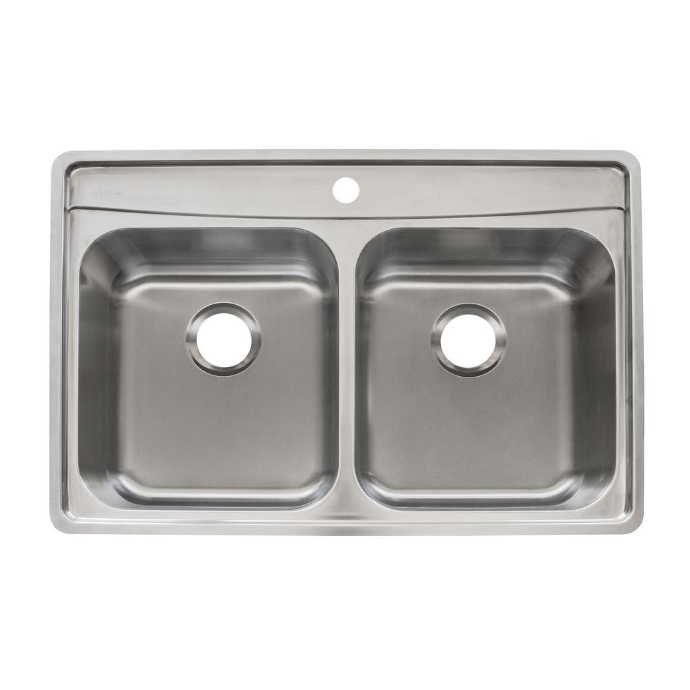 Franke Evolution Drop In Stainless Steel 33.5 In. 1 Hole Double Bowl Kitchen