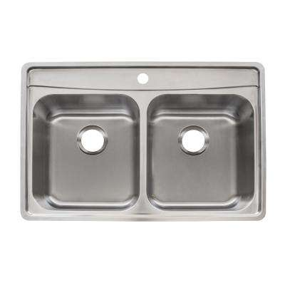 Evolution Drop-In Stainless Steel 33.5 in. 1-Hole Double Bowl Kitchen Sink with Fast-In Installation System