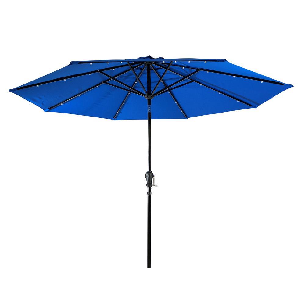 9 ft. Aluminum Market Solar Lighted 8-Rib Round Patio Umbrella with Olefin Canopy in Royal Blue