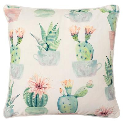 Santa Clara White and Pink and Blue and Green Floral Down 18 in. x 18 in. Throw Pillow
