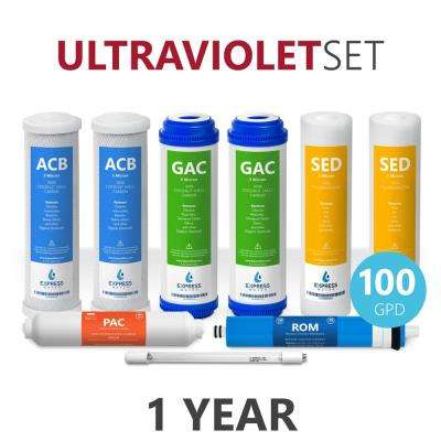 1 Year Ultraviolet Reverse Osmosis System Filter Set - 9 Filters with UV and 100 GPD RO Membrane - 10 in. Size Filters