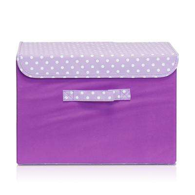 15 in. x 10.6 in. Non-Woven Fabric Purple Storage Bin with Lid