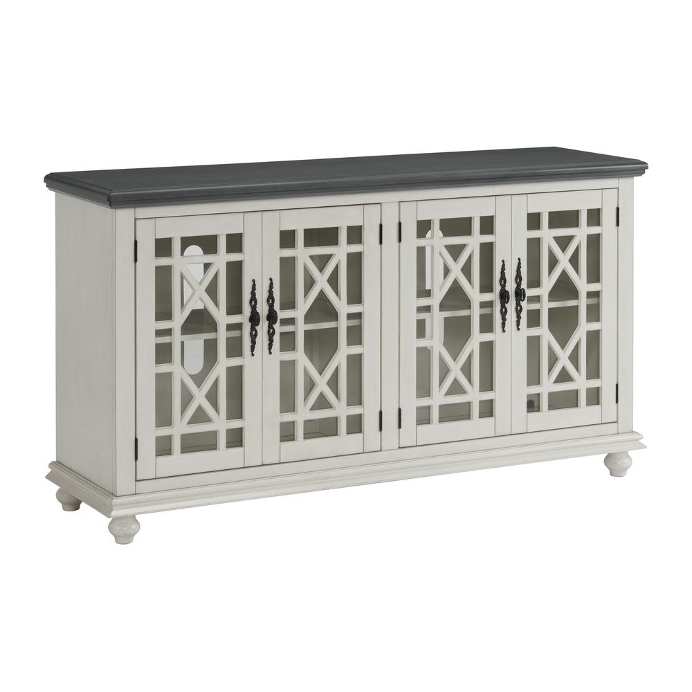 Martin Svensson Home Elegant 63 In White With Gray Top Tv Stand For Tvs Up To 65 In 91009 The Home Depot