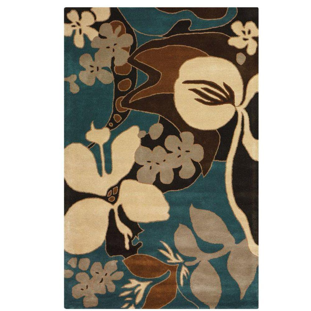 Home Decorators Collection Borneo Blue 3 ft. 6 in. x 5 ft. 6 in. Area Rug