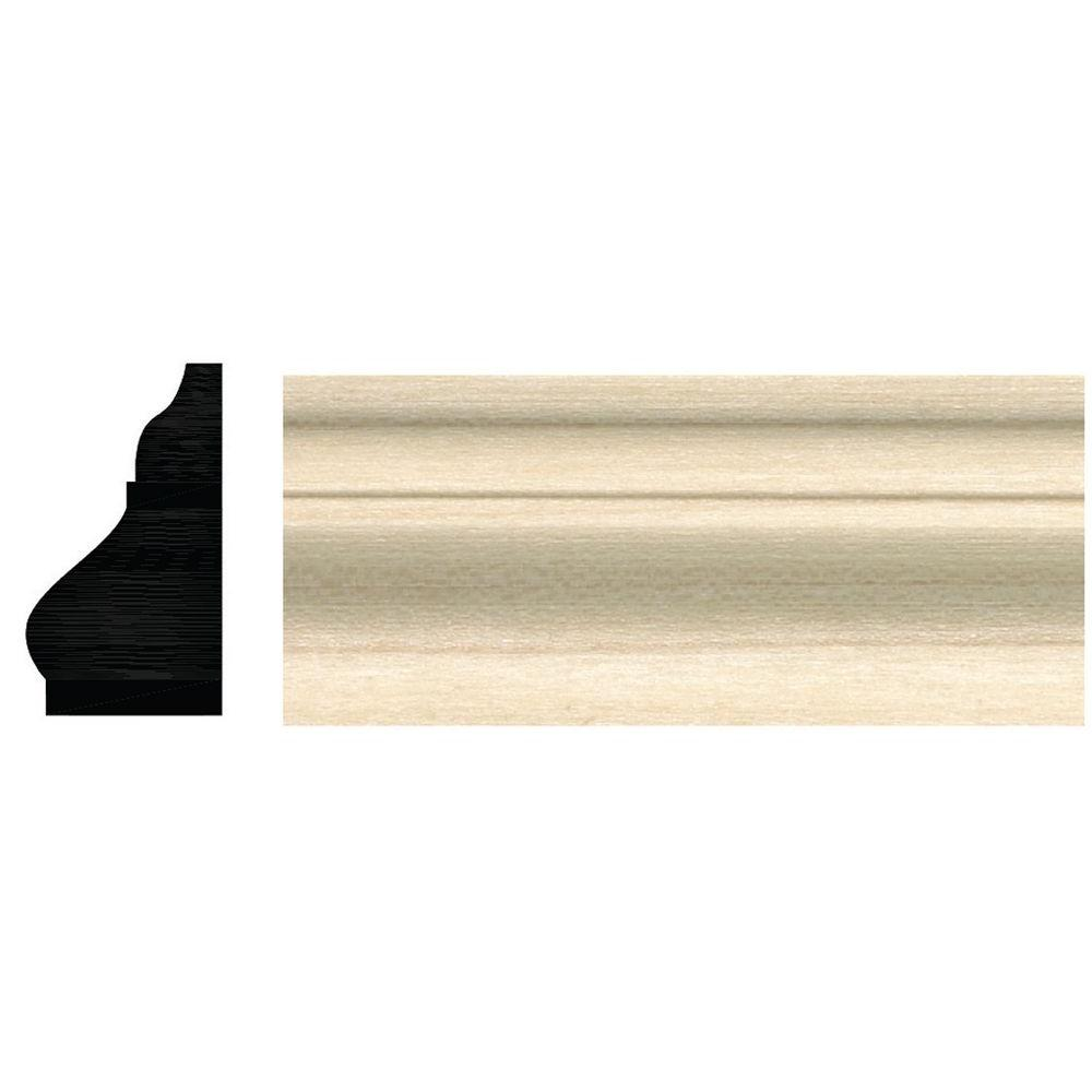 Ornamental Mouldings 3/4 in. x 1-1/4 in. x 96 in. White Hardwood Colonial Base Cap Moulding
