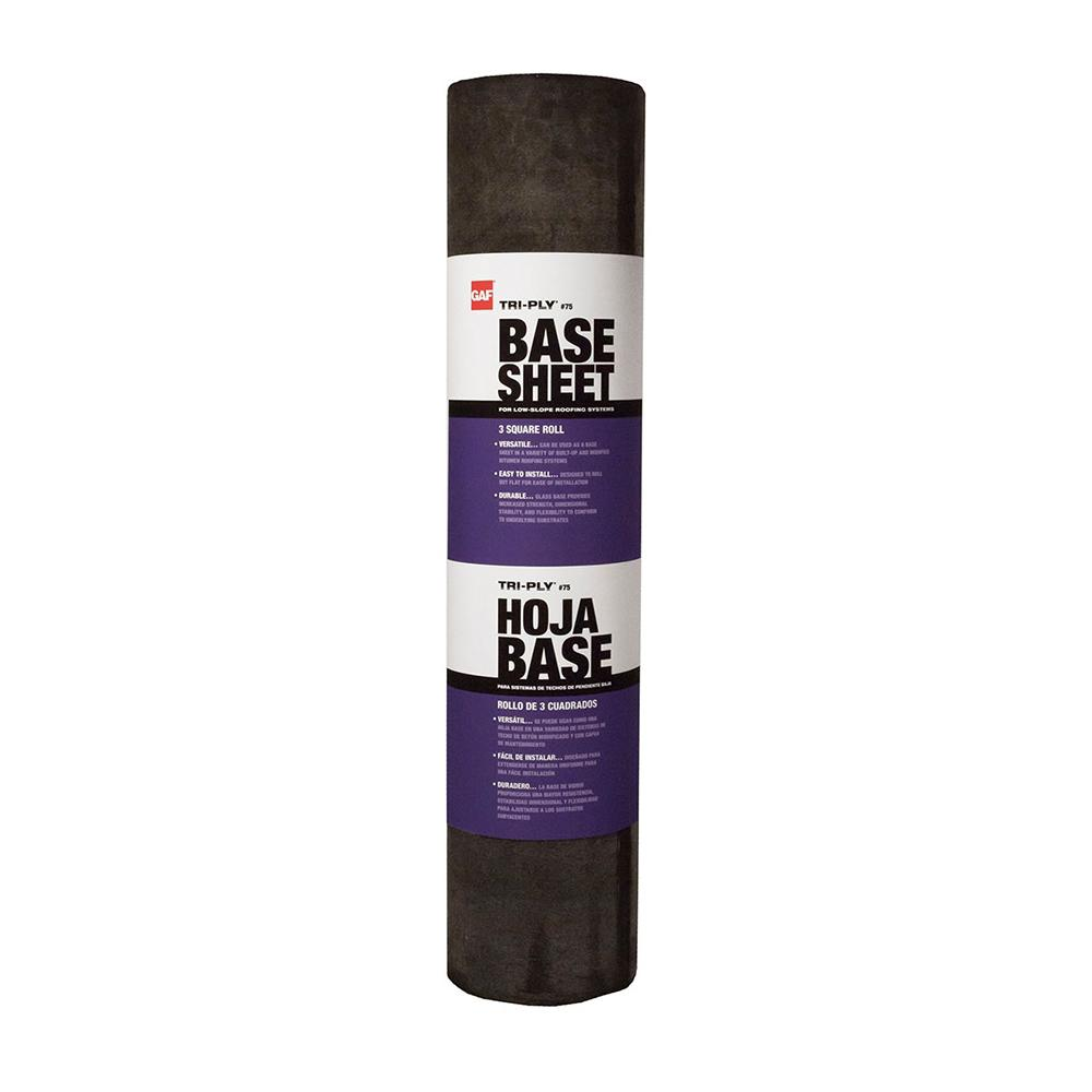 Gaf Tri Ply 75 Base Sheet 3 Ft X 98 Ft 300 Sq Ft Net Membrane Roll For Low Slope Roofs 3389000 The Home Depot