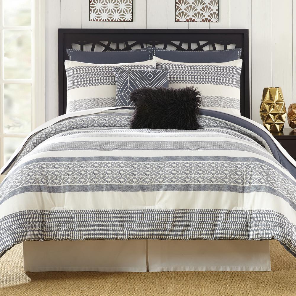 78b043ebc079 PRESIDIO SQUARE Deco Gray Stripe King Comforter Set (7-Piece ...