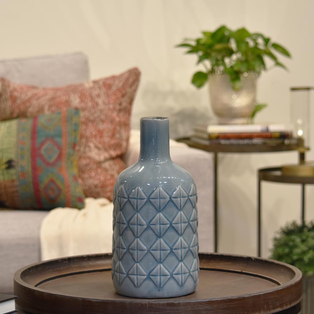 Blue Gloss Washed Ceramic Decorative Vase