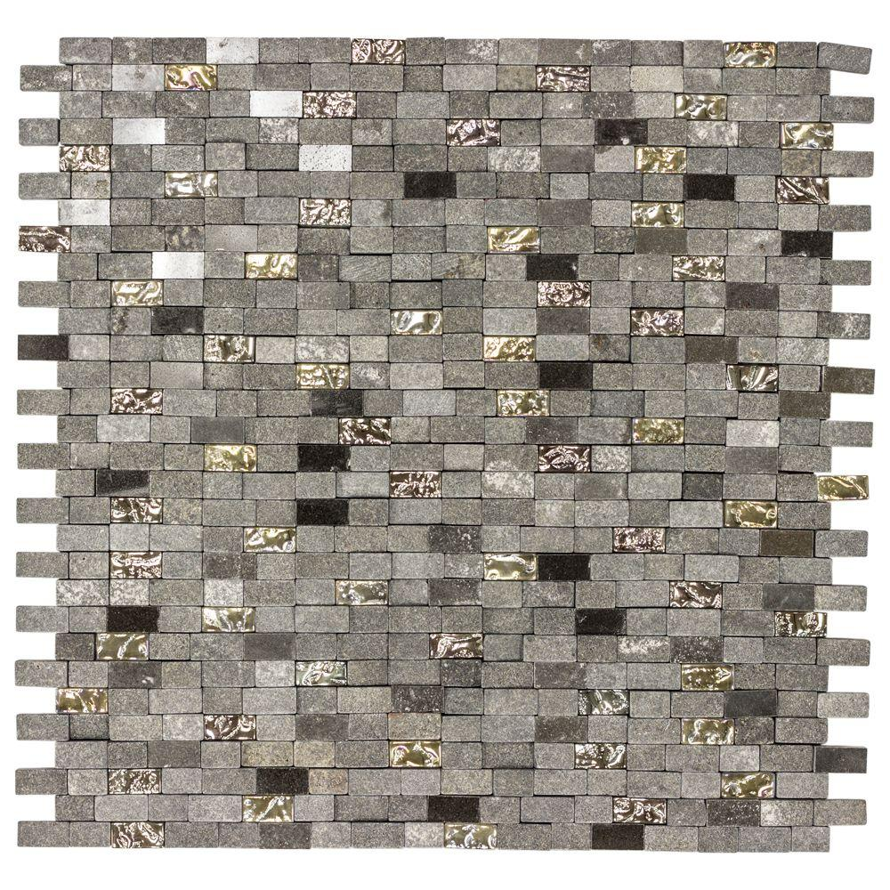 Jeffrey Court Mystical Mini Brick 12 75 In X 125 8 Mm Gl And Black Marble Mosaic Wall Tile 99718 The Home Depot