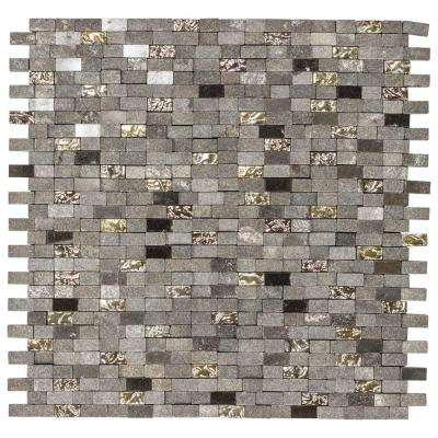 Mystical Mini Brick 12.75 in. x 12.125 in. x 8 mm Glass and Black Marble Mosaic Wall Tile