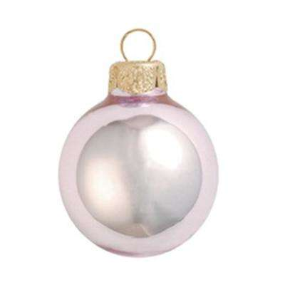 4 in. Baby Pink Shiny Glass Christmas Ornaments (6-Pack)