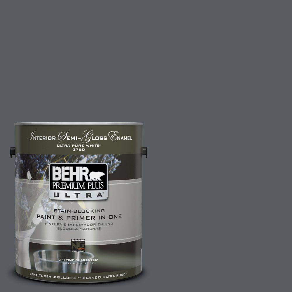BEHR Premium Plus Ultra 1-gal. #UL260-22 Pencil Point Interior Semi-Gloss Enamel Paint