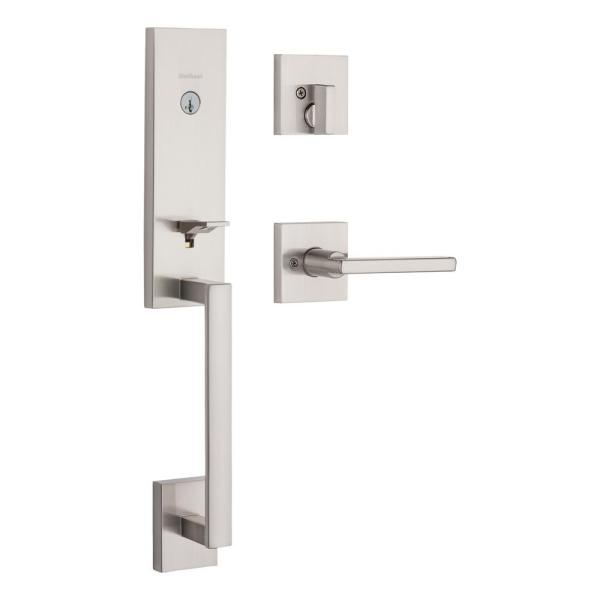 Vancouver Satin Nickel Single Cylinder Low Profile Handleset with Halifax Lever Featuring SmartKey Security