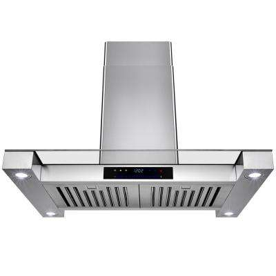 30 in. Convertible Island Mount Range Hood in Stainless Steel with Tempered Glass and Touch Control