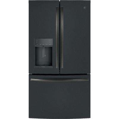 Profile 35.75 in. W 27.8 cu. ft. French Door Refrigerator with Hands Free Autofill in Black Slate, ENERGY STAR