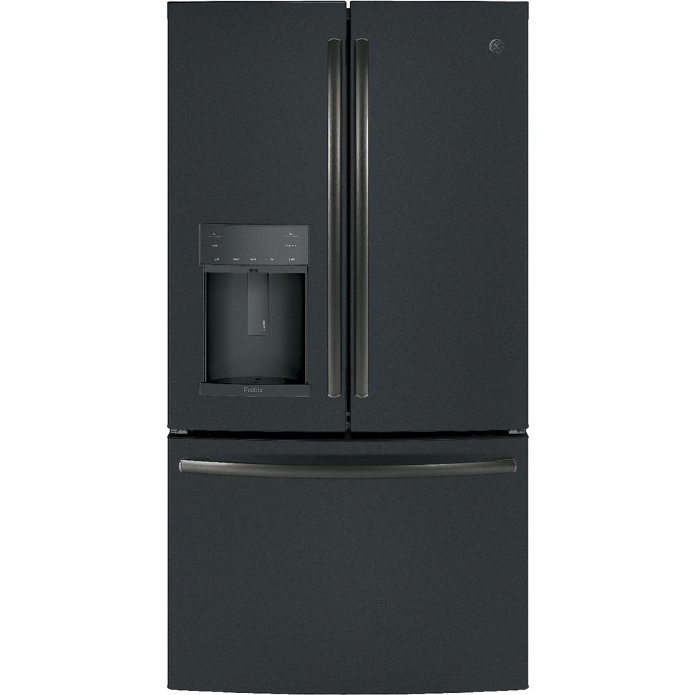 GE Profile 27.8 cu. ft. French Door Refrigerator with Hands-Free Autofill in Black Slate, Fingerprint Resistant