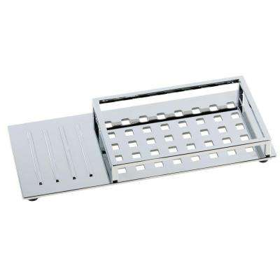 Vero 12 in. Vanity Tray with Rubber Feet in Chrome