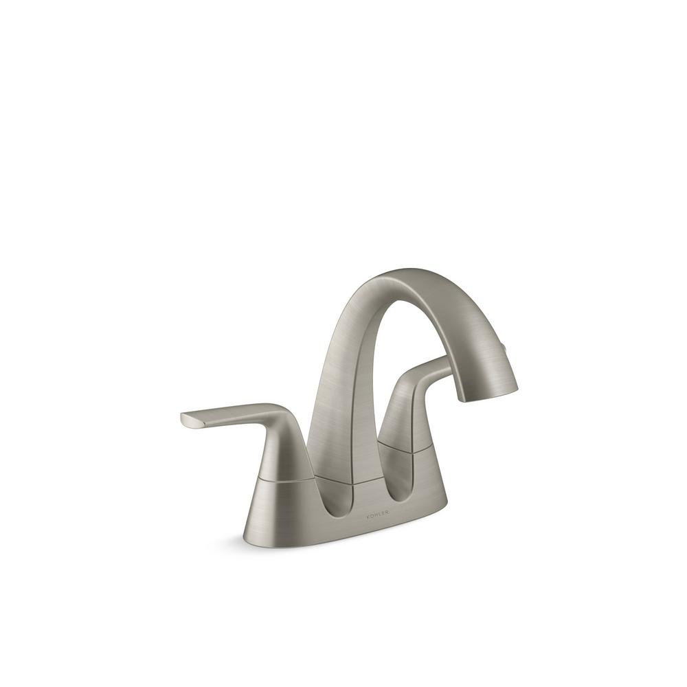 KOHLER Elmbrook 4 in. Centerset 2-Handle Bathroom Faucet in Brushed Nickel