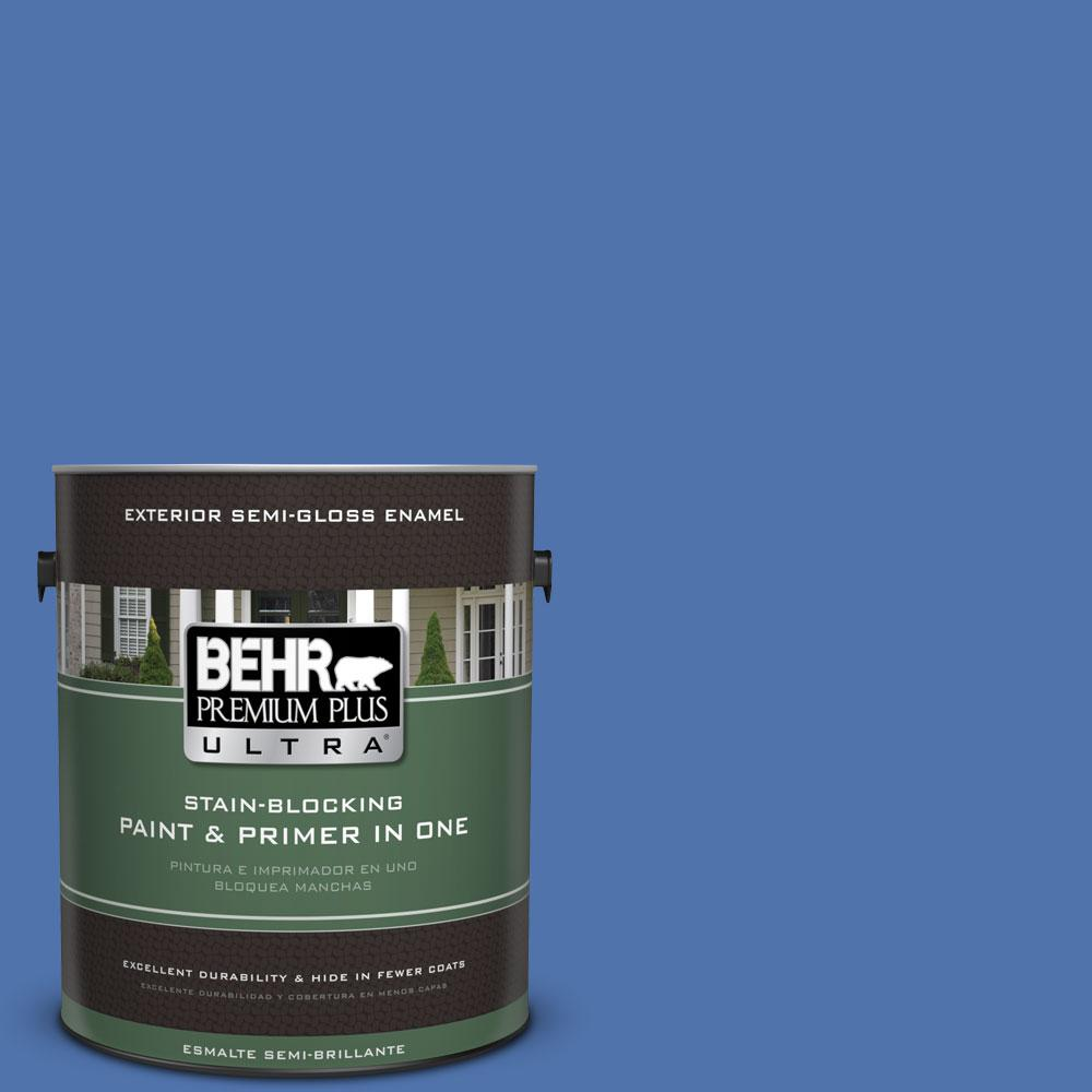 BEHR Premium Plus Ultra 1-gal. #590B-6 Flying Fish Semi-Gloss Enamel Exterior Paint