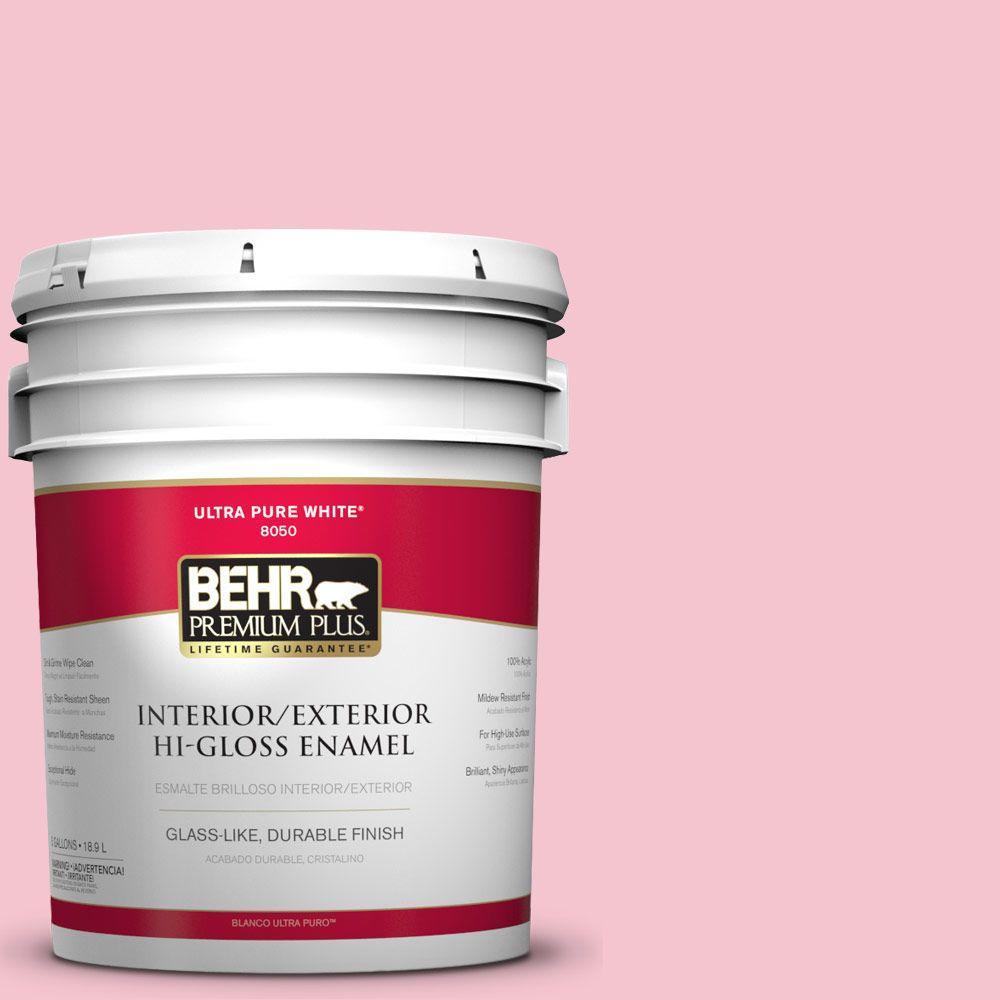 BEHR Premium Plus 5-gal. #P150-2 Energetic Pink Hi-Gloss Enamel Interior/Exterior Paint