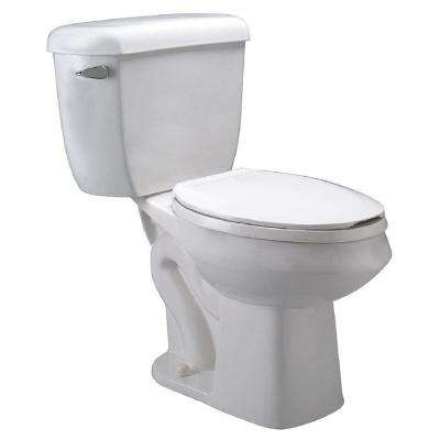 2-piece 1.0 GPF Single Flush Round Front Toilet in White