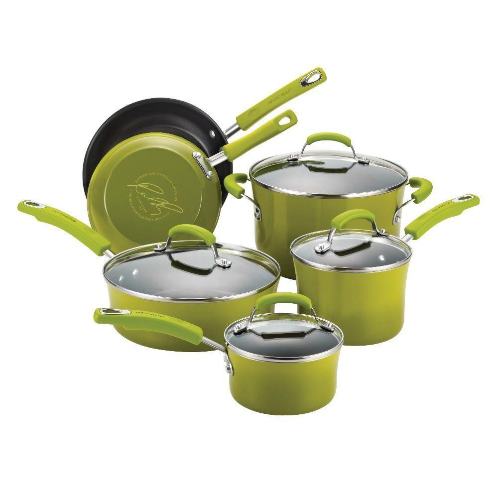 Rachael Ray Porcelain II 10-Piece Cookware Set in Green