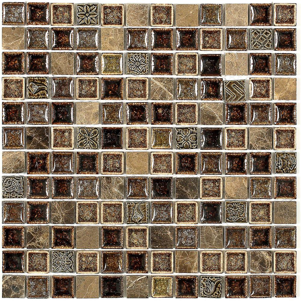 Ivy Hill Tile Roman Selection Charred Chestnut 12 In X 8 Mm Gl Mosaic Floor And Wall