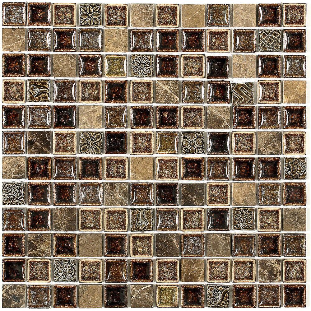 Splashback Tile Roman Selection Charred Chestnut 12 in. x 12 in. x ...