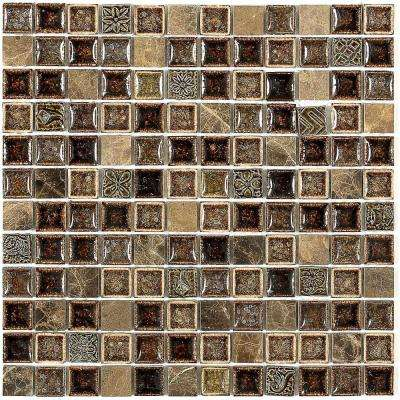 Roman Selection Charred Chestnut 12 in. x 12 in. x 8 mm Glass Mosaic Floor and Wall Tile