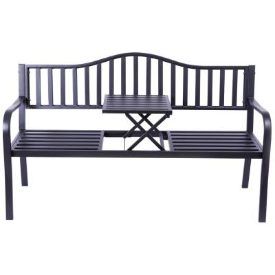 Powder Coated Black Steel Outdoor Patio Garden Park Yard Bench with Middle Table