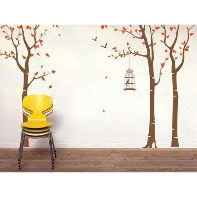 143 in. x 102 in. 3-Birch Trees and Birdcage Removable Wall Decal