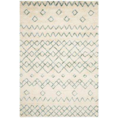 Casablanca Shag Ivory/Blue 8 ft. x 10 ft. Area Rug