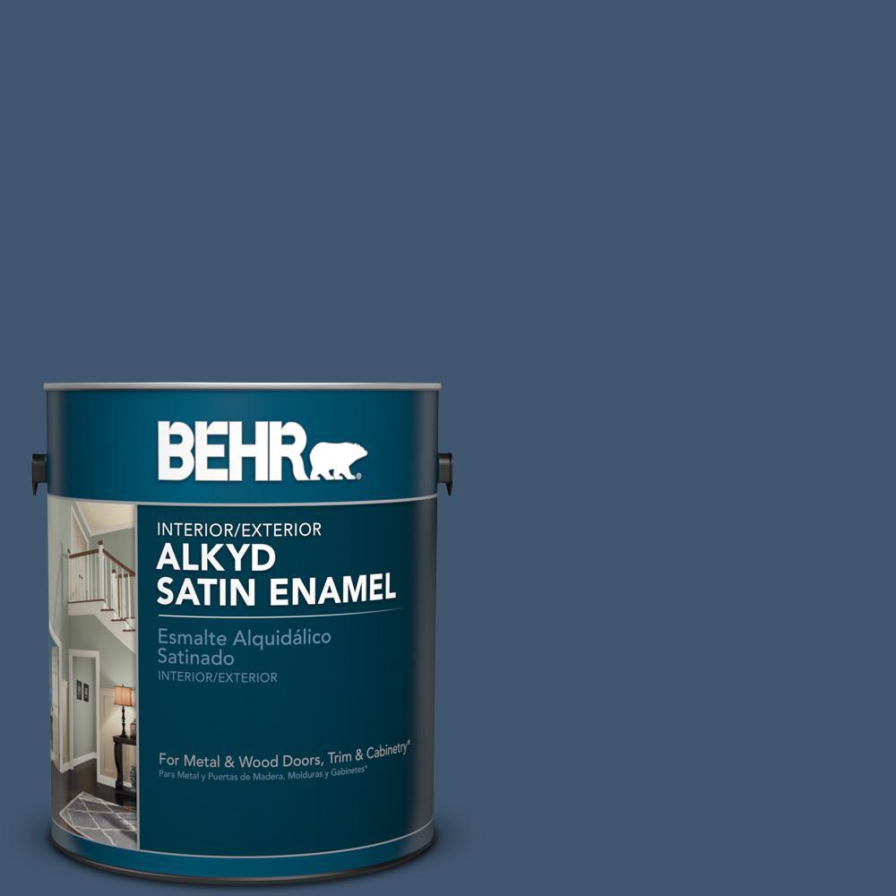 1 gal. #S500-7 Infinite Deep Sea Satin Enamel Alkyd Interior/Exterior Paint