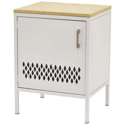 25.25 in. White Metal Storage Cabinet