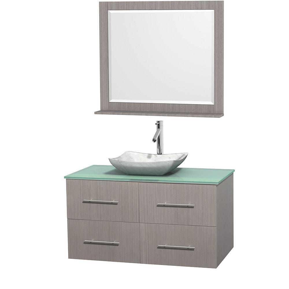 Wyndham Collection Centra 42 in. Vanity in Gray Oak with Glass Vanity Top in Green, Carrara White Marble Sink and 36 in. Mirror